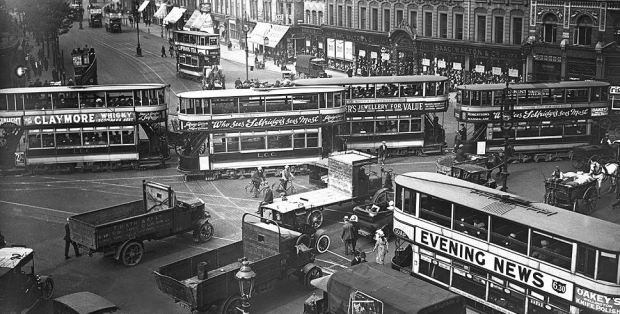Elephant & Castle bustling with trams in the 1920s..jpg