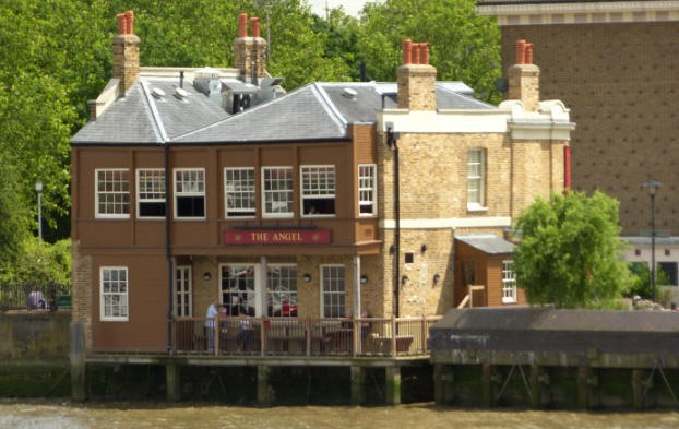The Angel public house as seen from the Thames foreshore. 2008.jpg