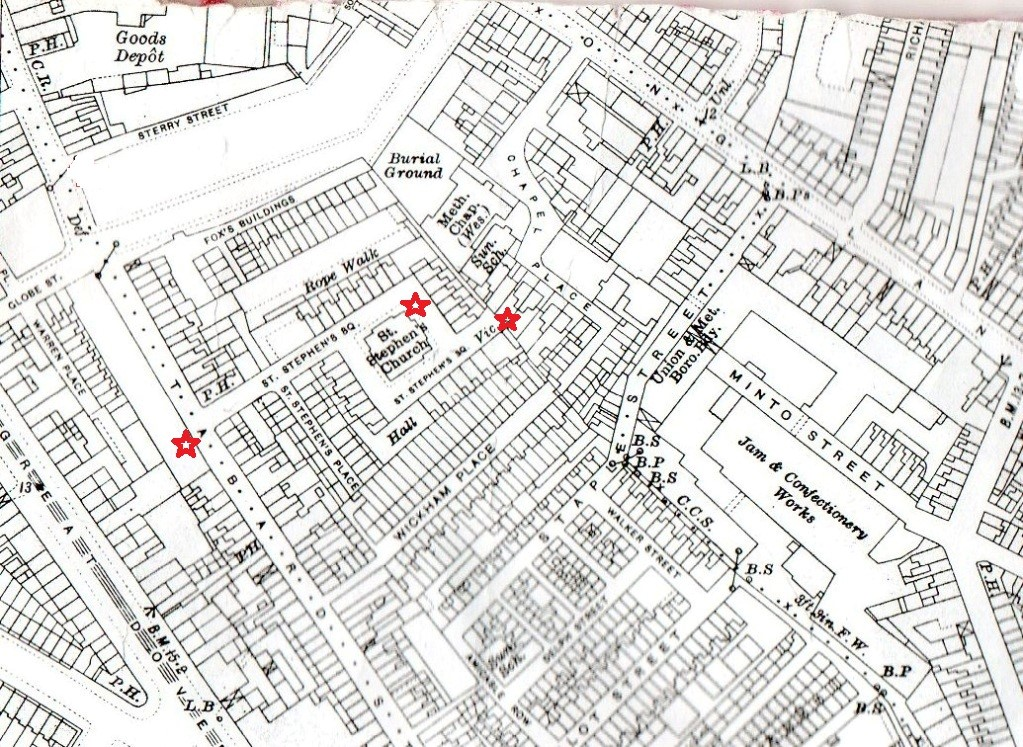 Map from 1914 showing showing St Stephens Place with Church and Vicarage.jpg