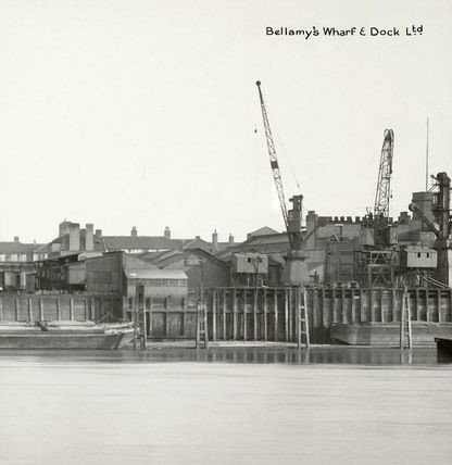 Rotherhithe Street, Bellamys Wharf and Bullhead Dock were a sand and gravel unloading facility..jpg