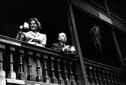Borough High Street 1948, Ingrid Bergman and Alfred Hitchcock at the George Inn..jpg