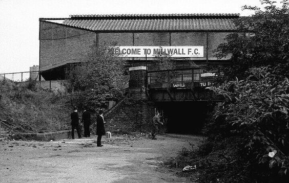 THE OLD DEN MILLWALL FC THE 1980s. On the bridge West Ham Turn Back..jpg