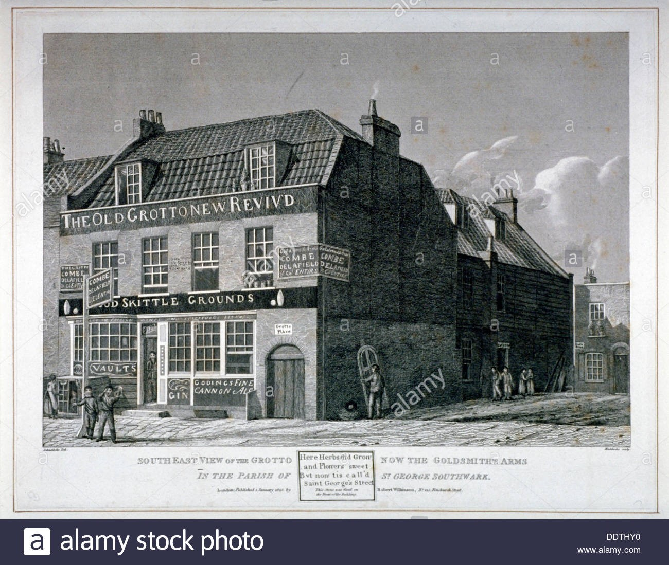 South-east view of the Grotto Inn, St Georges Street, Southwark, London, 1825. Roughly where the.jpg