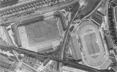 Hornshay Street, New Cross Stadium Den on the left, New Cross Stadium on the right 1962..jpg