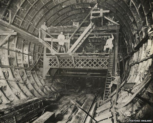 Rotherhithe Tunnel under construction, Southwark, London 30 November 1906..jpg