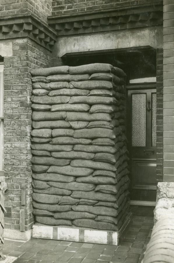 Dunton Road, Sandbags outside a house, September, 1939. X.jpg