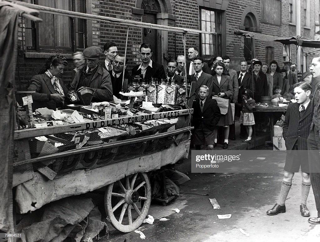 East Lane Market when the sweets came off the rationing for the first time in nearly seven years c1949..jpg