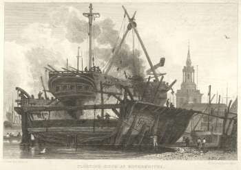 Floating Dock, Rotherhithe, 1815. In the background can be seen the parish Church of St Mary the Virgin..png
