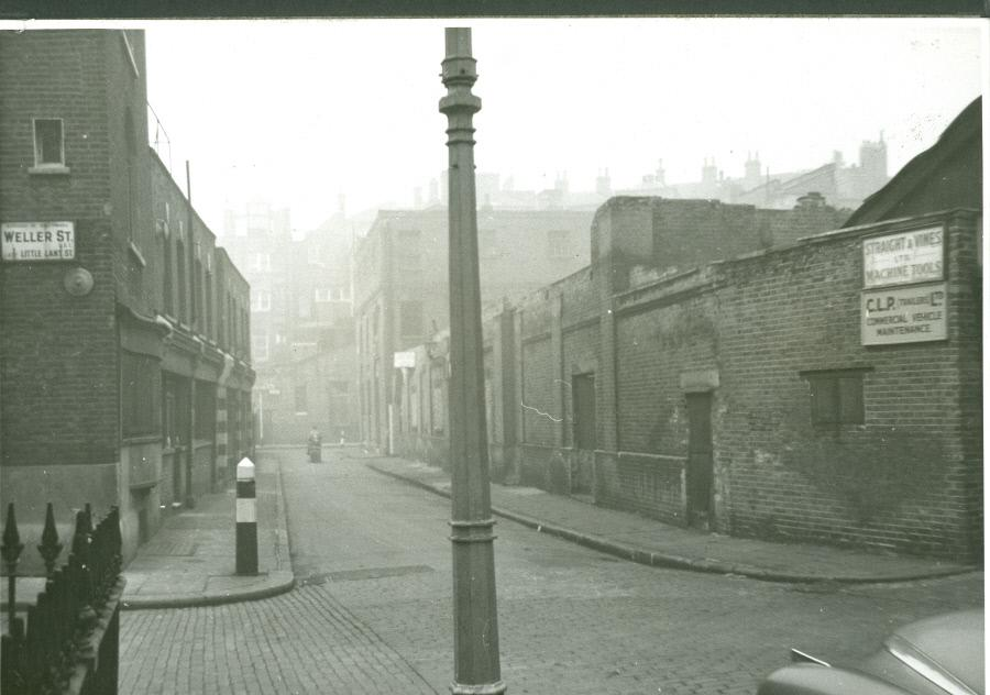 Mint Street Workhouse, on the corner of Weller Street and Mint Street. 1957. Weller St was Little Lant St.  X.png