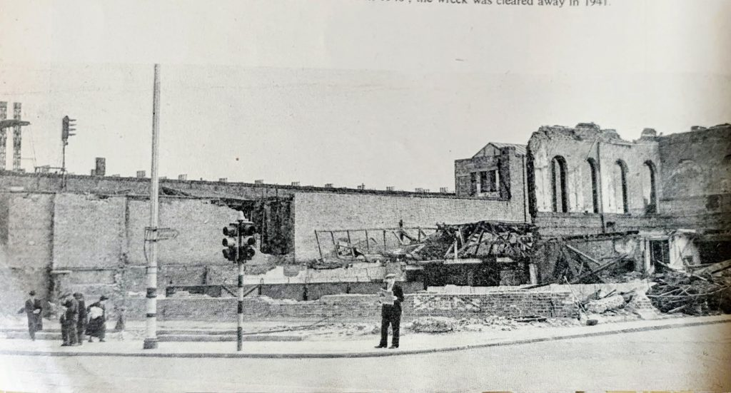 Blackfiars Road,The Ring bombed twice in1940. The wrecked site was cleared away in 1941. X.png