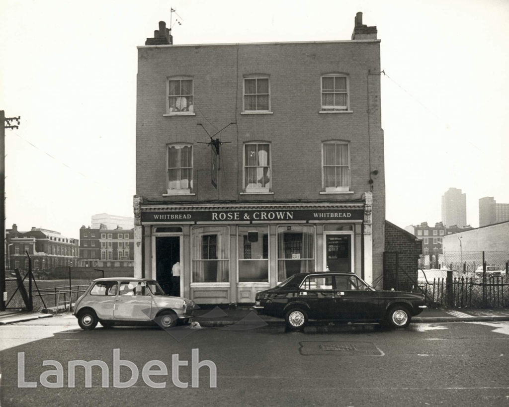 Upper Ground, the Rose and Crown public house, pub rebuilt c1975,now called the Mulberry Bush.  X.png