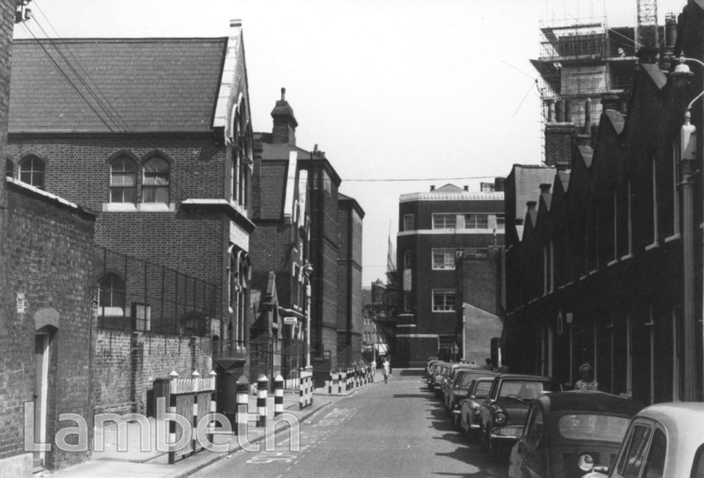 Roupell Street  c1969, looking east towards Hatfields, with St Andrew's primary school on the left. The school was built c.1868.     X.png