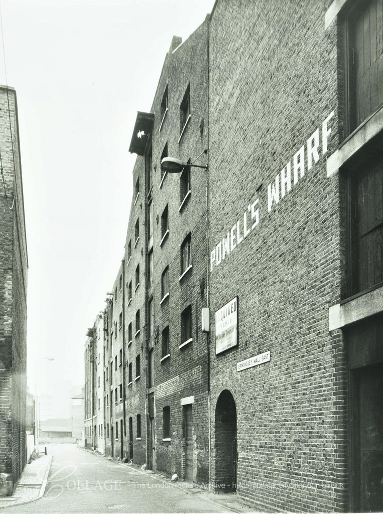 Bermondsey Wall East, from right to left, Powells Wharf, Fountain Stair Wharf, 1974. Wilson Grove left.  X.png