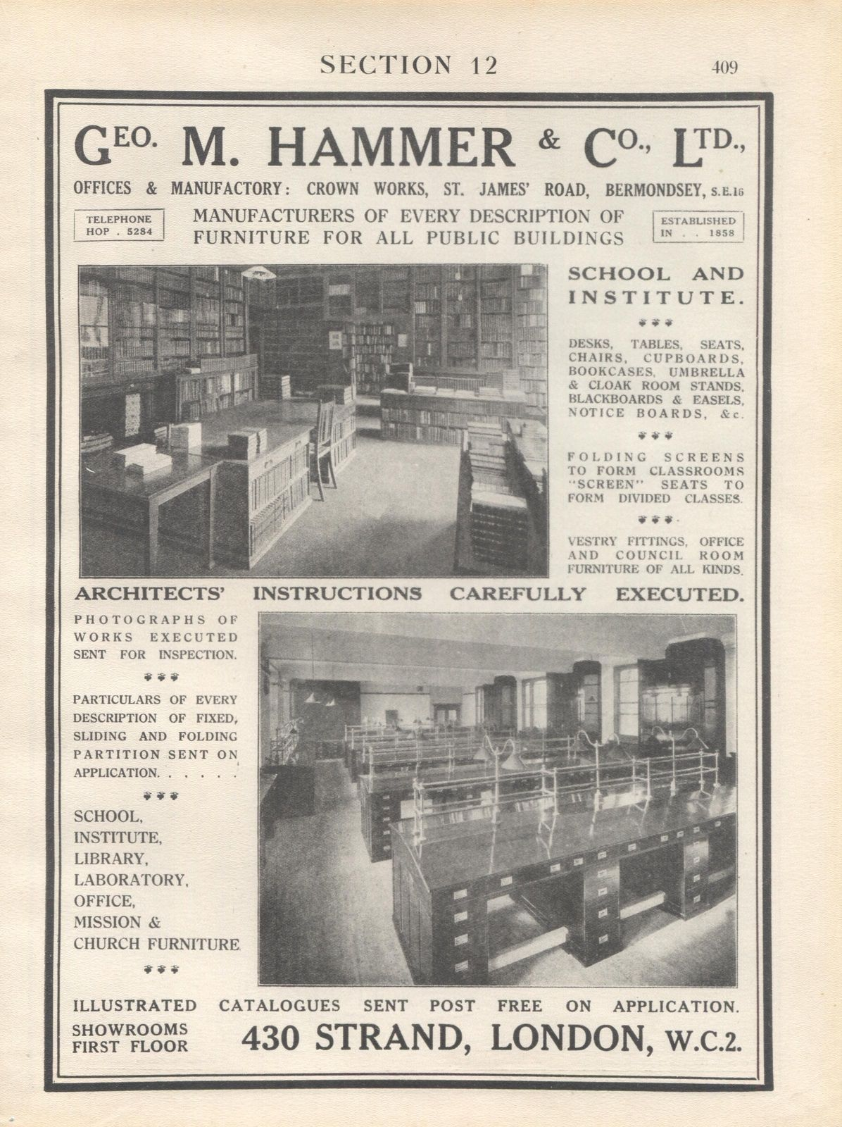 Geo. M. Hammer & Co, St James Road,Bermondsey - furniture for public buildings - c1920s.  X.png