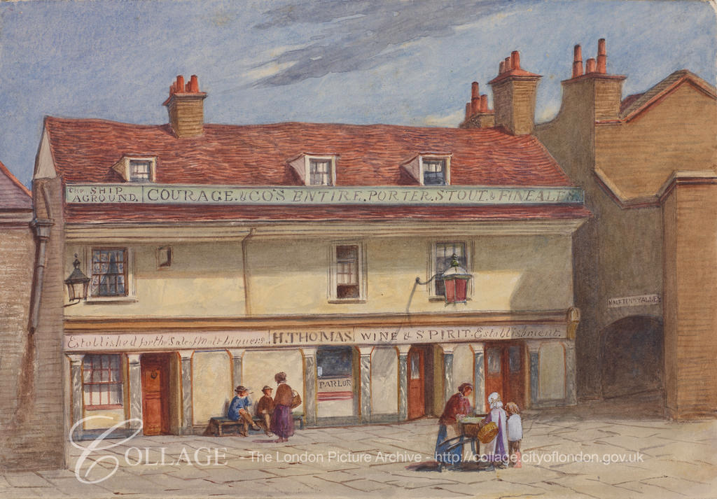 Wolseley Street, Ship Aground Public House with figures outside,c1875.  X.png