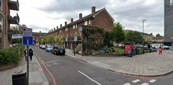 Stevens Street 2019. A cul-de-sac off Tower Bridge Road, to the right is Abbey Street.  X.png