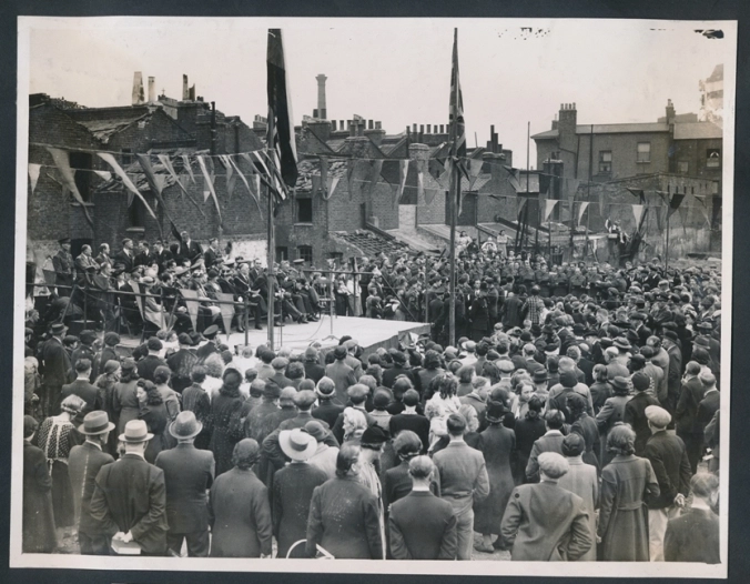 Spa Road, Memorial Service for Lidice at a Spa Road bomb site, Bermondsey on 10 June 1943.  X.png