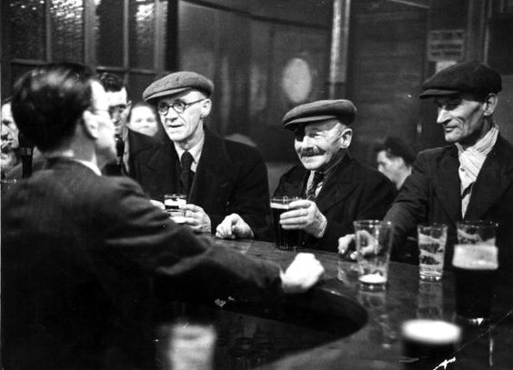 Elephant and Castle, South London, customers drinking in The Elephant pub 1949.  X.png