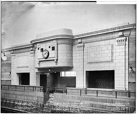 Grange Road, Bermondsey Public Baths, c1927. The clock at the end of the large swimming bath.  X.png