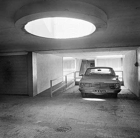 Plough Way, c1970s. A Vauxhall parked in the underground car park associated with the Jura House low rise flats in Southwark Jura House.   X.png
