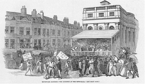 Borough High Street. The Hoppole Pub was situated at 243 Borough High Street  c1852.   X.png